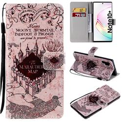 Castle The Marauders Map PU Leather Wallet Case for Samsung Galaxy Note 10+ (6.75 inch) / Note10 Plus