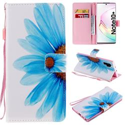 Blue Sunflower PU Leather Wallet Case for Samsung Galaxy Note 10+ (6.75 inch) / Note10 Plus