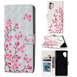 Butterfly Sakura Flower 3D Painted Leather Phone Wallet Case for Samsung Galaxy Note 10+ (6.75 inch) / Note10 Plus