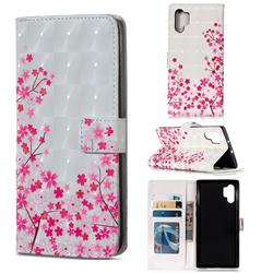 Cherry Blossom 3D Painted Leather Phone Wallet Case for Samsung Galaxy Note 10+ (6.75 inch) / Note10 Plus