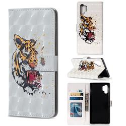 Toothed Tiger 3D Painted Leather Phone Wallet Case for Samsung Galaxy Note 10+ (6.75 inch) / Note10 Plus
