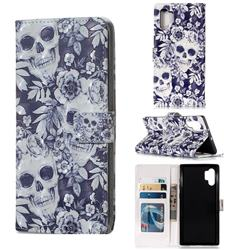 Skull Flower 3D Painted Leather Phone Wallet Case for Samsung Galaxy Note 10+ (6.75 inch) / Note10 Plus