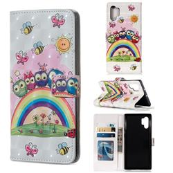 Rainbow Owl Family 3D Painted Leather Phone Wallet Case for Samsung Galaxy Note 10+ (6.75 inch) / Note10 Plus