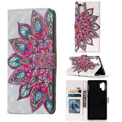 Mandara Flower 3D Painted Leather Phone Wallet Case for Samsung Galaxy Note 10+ (6.75 inch) / Note10 Plus