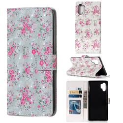 Roses Flower 3D Painted Leather Phone Wallet Case for Samsung Galaxy Note 10+ (6.75 inch) / Note10 Plus