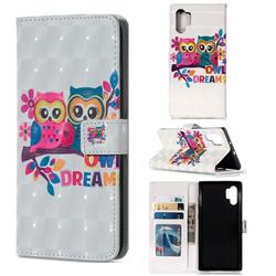 Couple Owl 3D Painted Leather Phone Wallet Case for Samsung Galaxy Note 10+ (6.75 inch) / Note10 Plus