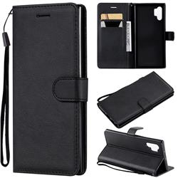Retro Greek Classic Smooth PU Leather Wallet Phone Case for Samsung Galaxy Note 10+ (6.75 inch) / Note10 Plus - Black