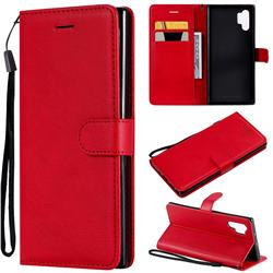 Retro Greek Classic Smooth PU Leather Wallet Phone Case for Samsung Galaxy Note 10+ (6.75 inch) / Note10 Plus - Red
