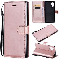 Retro Greek Classic Smooth PU Leather Wallet Phone Case for Samsung Galaxy Note 10+ (6.75 inch) / Note10 Plus - Rose Gold