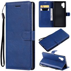Retro Greek Classic Smooth PU Leather Wallet Phone Case for Samsung Galaxy Note 10+ (6.75 inch) / Note10 Plus - Blue