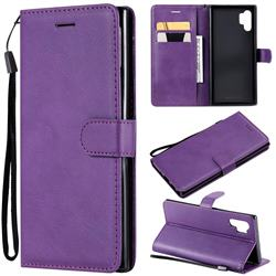 Retro Greek Classic Smooth PU Leather Wallet Phone Case for Samsung Galaxy Note 10+ (6.75 inch) / Note10 Plus - Purple