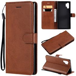 Retro Greek Classic Smooth PU Leather Wallet Phone Case for Samsung Galaxy Note 10+ (6.75 inch) / Note10 Plus - Brown