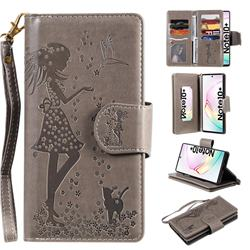 Embossing Cat Girl 9 Card Leather Wallet Case for Samsung Galaxy Note 10+ (6.75 inch) / Note10 Plus - Gray