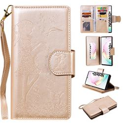 Embossing Cat Girl 9 Card Leather Wallet Case for Samsung Galaxy Note 10+ (6.75 inch) / Note10 Plus - Gold