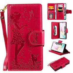 Embossing Cat Girl 9 Card Leather Wallet Case for Samsung Galaxy Note 10+ (6.75 inch) / Note10 Plus - Red