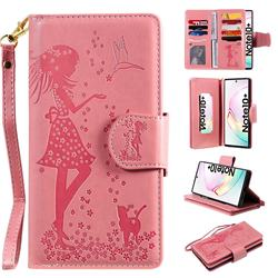 Embossing Cat Girl 9 Card Leather Wallet Case for Samsung Galaxy Note 10 Pro (6.75 inch) / Note 10+ - Pink