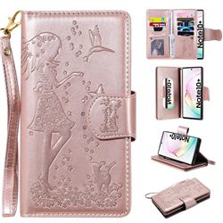 Embossing Cat Girl 9 Card Leather Wallet Case for Samsung Galaxy Note 10 Pro (6.75 inch) / Note 10+ - Rose Gold