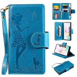 Embossing Cat Girl 9 Card Leather Wallet Case for Samsung Galaxy Note 10+ (6.75 inch) / Note10 Plus - Blue