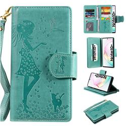 Embossing Cat Girl 9 Card Leather Wallet Case for Samsung Galaxy Note 10+ (6.75 inch) / Note10 Plus - Green