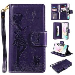 Embossing Cat Girl 9 Card Leather Wallet Case for Samsung Galaxy Note 10+ (6.75 inch) / Note10 Plus - Purple