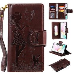 Embossing Cat Girl 9 Card Leather Wallet Case for Samsung Galaxy Note 10+ (6.75 inch) / Note10 Plus - Brown