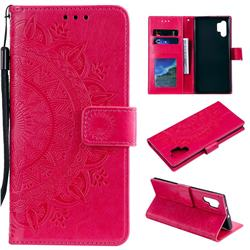 Intricate Embossing Datura Leather Wallet Case for Samsung Galaxy Note 10+ (6.75 inch) / Note10 Plus - Rose Red