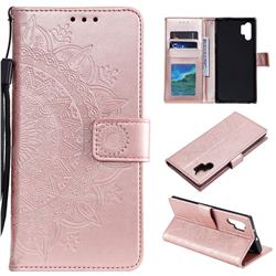 Intricate Embossing Datura Leather Wallet Case for Samsung Galaxy Note 10+ (6.75 inch) / Note10 Plus - Rose Gold