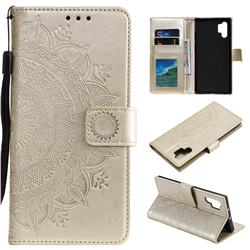 Intricate Embossing Datura Leather Wallet Case for Samsung Galaxy Note 10+ (6.75 inch) / Note10 Plus - Golden