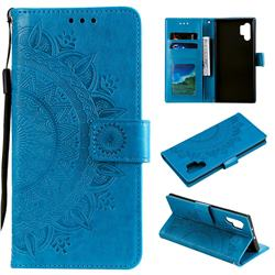Intricate Embossing Datura Leather Wallet Case for Samsung Galaxy Note 10+ (6.75 inch) / Note10 Plus - Blue