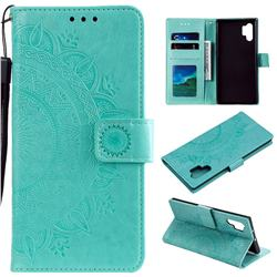 Intricate Embossing Datura Leather Wallet Case for Samsung Galaxy Note 10+ (6.75 inch) / Note10 Plus - Mint Green