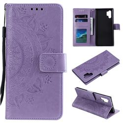Intricate Embossing Datura Leather Wallet Case for Samsung Galaxy Note 10+ (6.75 inch) / Note10 Plus - Purple