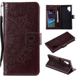 Intricate Embossing Datura Leather Wallet Case for Samsung Galaxy Note 10+ (6.75 inch) / Note10 Plus - Brown