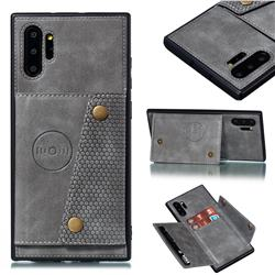 Retro Multifunction Card Slots Stand Leather Coated Phone Back Cover for Samsung Galaxy Note 10+ (6.75 inch) / Note10 Plus - Gray
