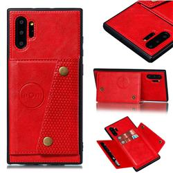 Retro Multifunction Card Slots Stand Leather Coated Phone Back Cover for Samsung Galaxy Note 10+ (6.75 inch) / Note10 Plus - Red