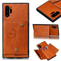 Retro Multifunction Card Slots Stand Leather Coated Phone Back Cover for Samsung Galaxy Note 10+ (6.75 inch) / Note10 Plus - Brown
