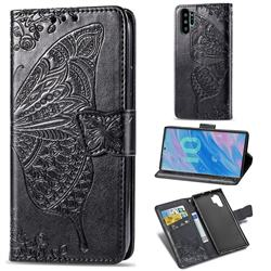 Embossing Mandala Flower Butterfly Leather Wallet Case for Samsung Galaxy Note 10+ (6.75 inch) / Note10 Plus - Black