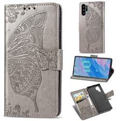 Embossing Mandala Flower Butterfly Leather Wallet Case for Samsung Galaxy Note 10+ (6.75 inch) / Note10 Plus - Gray