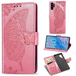 Embossing Mandala Flower Butterfly Leather Wallet Case for Samsung Galaxy Note 10+ (6.75 inch) / Note10 Plus - Pink