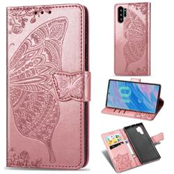 Embossing Mandala Flower Butterfly Leather Wallet Case for Samsung Galaxy Note 10+ (6.75 inch) / Note10 Plus - Rose Gold
