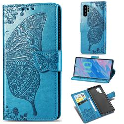 Embossing Mandala Flower Butterfly Leather Wallet Case for Samsung Galaxy Note 10+ (6.75 inch) / Note10 Plus - Blue