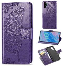 Embossing Mandala Flower Butterfly Leather Wallet Case for Samsung Galaxy Note 10+ (6.75 inch) / Note10 Plus - Dark Purple