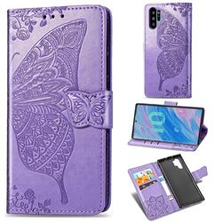 Embossing Mandala Flower Butterfly Leather Wallet Case for Samsung Galaxy Note 10+ (6.75 inch) / Note10 Plus - Light Purple