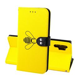 Silk Texture Bee Pattern Leather Phone Case for Samsung Galaxy Note 10+ (6.75 inch) / Note10 Plus - Yellow