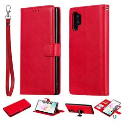 Retro Greek Detachable Magnetic PU Leather Wallet Phone Case for Samsung Galaxy Note 10+ (6.75 inch) / Note10 Plus - Red
