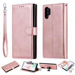 Retro Greek Detachable Magnetic PU Leather Wallet Phone Case for Samsung Galaxy Note 10+ (6.75 inch) / Note10 Plus - Rose Gold