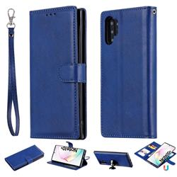 Retro Greek Detachable Magnetic PU Leather Wallet Phone Case for Samsung Galaxy Note 10+ (6.75 inch) / Note10 Plus - Blue