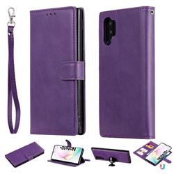 Retro Greek Detachable Magnetic PU Leather Wallet Phone Case for Samsung Galaxy Note 10+ (6.75 inch) / Note10 Plus - Purple