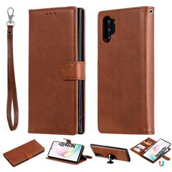 Retro Greek Detachable Magnetic PU Leather Wallet Phone Case for Samsung Galaxy Note 10+ (6.75 inch) / Note10 Plus - Brown