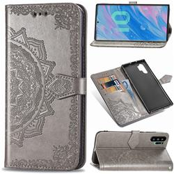 Embossing Imprint Mandala Flower Leather Wallet Case for Samsung Galaxy Note 10+ (6.75 inch) / Note10 Plus - Gray