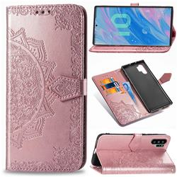 Embossing Imprint Mandala Flower Leather Wallet Case for Samsung Galaxy Note 10+ (6.75 inch) / Note10 Plus - Rose Gold